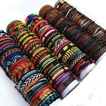 ZotatBele Wholesale Bulk Lots Random 30PCS/Lot Mix Styles Leather Cuff Bracelets Mens Womens Jewelry Party Gifts MX15