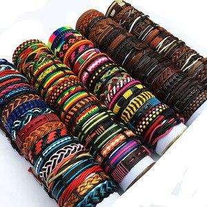 Image 1 - ZotatBele hurtownie luzem wiele losowe 30 sztuk/partia Mix style skórzane mankietów bransoletki męskie damskie biżuteria Party prezenty MX15