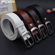 Men Women Vintage White Black Belts Metal Buckle Jeans Strap Faux Leather Belt Alloy Buckles Design Casual All-match For Female(China)
