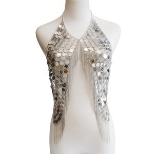 Image 2 - Boho seksi muhteşem Metal Sequins püskül demeti kolye sutyen zincir kadınlar takı Bikini Metal alaşım bildirimi vücut zinciri