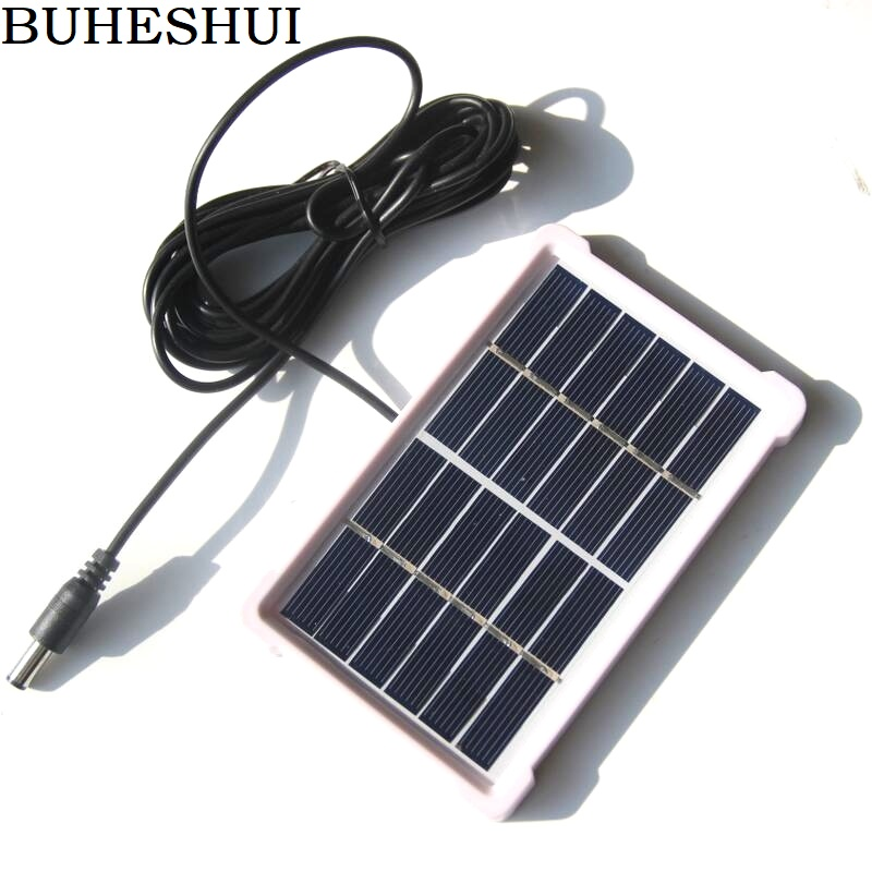 BUHESHUI Polycrystalline Mini <font><b>Solar</b></font> Cell DC5521 Cable <font><b>1W</b></font> <font><b>6V</b></font> <font><b>Solar</b></font> <font><b>Panel</b></font> Charger For 3.7V Battery System Light 120*85MM 2pcs/lot image