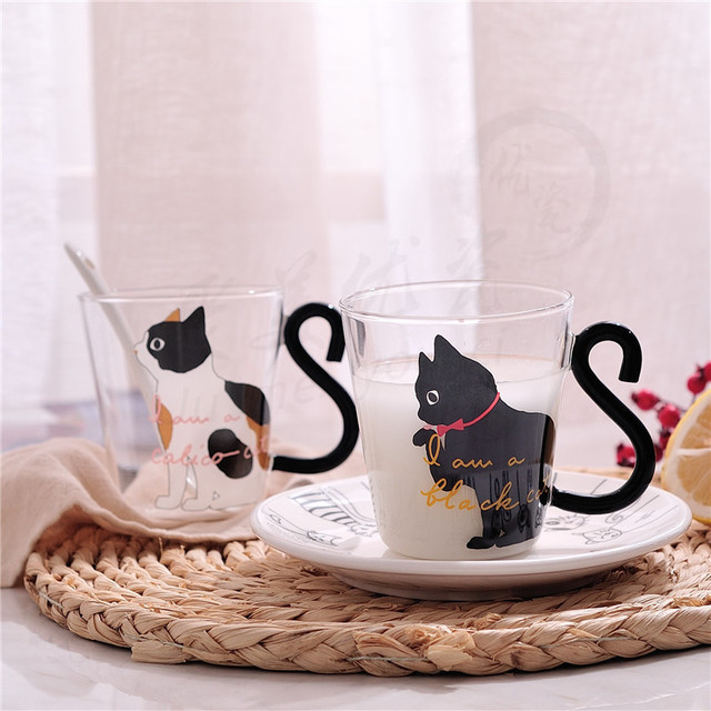 Lovely Cat Tail Handle Cup Glass Mug Coffee Tea Milk Drinkware Resistant High Temperature Home Office Gift