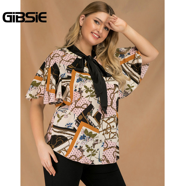 GIBSIE Plus Size Elegant Bow Tie Neck Butterfly Sleeve Blouse Women 2019 Summer Office Lady Casual Mixed Print Shirt Top Female 4