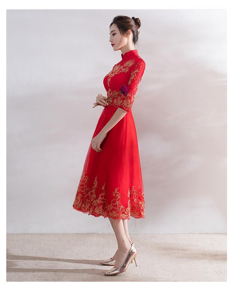 Robe bell Rouge Mariée Traditionnelle Manches stand off Short Cheongsam Long Fishtai Moitié Raffinement stand round Ch485 Wear Neck Collar stand shoulder Long Shoulder Chinoise Broderie Maternity De Long Sleeve Longues Femmes Robes Mariage 0OPkwn
