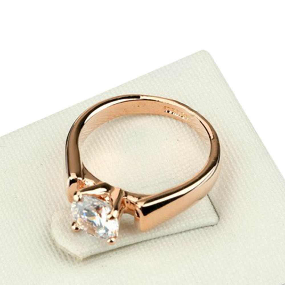 หญิงหรูหราราคาถูกสีขาวรอบแหวนน่ารักแฟชั่น 18KT Rose Gold คริสตัล Zircon แหวนสัญญาหมั้นแหวน