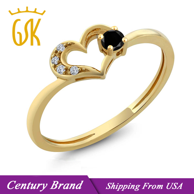 Gem Stone King Natural Black Stone Rings For Women Round Diamond