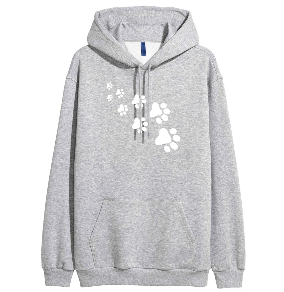 CAT PAWS Print Kawaii Fashion Streetwear Hipster 2019 Spring Winter Fleece Hoodies Swetashirt For Women Harajauku K-pop Crossfit