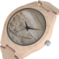 Hot Wood Men Wrist Watch Simple Marble Pattern Face Analog Genuine Leather Strap Cool Bamboo Gift