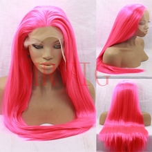MRWIG Long Straight Synthetic Lace Front Wig Glueless Long Straight Rose Red Free Part 26inch 150% Cosplay Wig ultra long center part straight synthetic wig