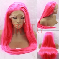 MRWIG Long Straight Synthetic Lace Front Wig Glueless Long Straight Rose Red Free Part 26inch 150% Cosplay Wig