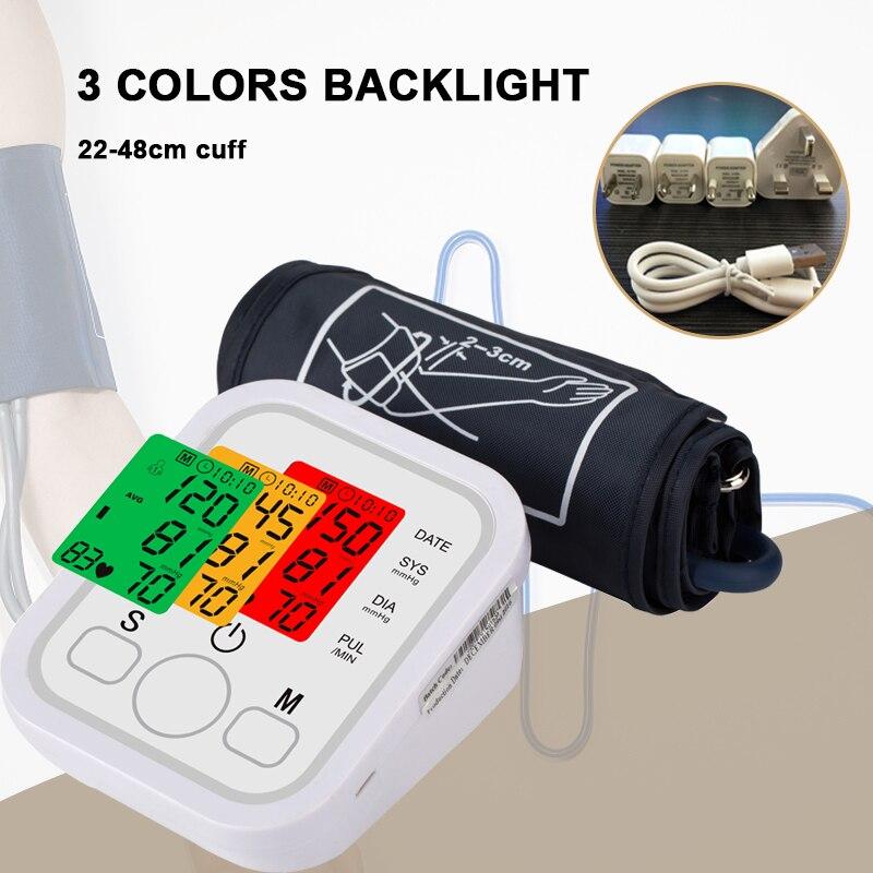 3 farben hintergrundbeleuchtung stimme Automatische Digitale Arm Blutdruck Monitor Blutdruckmessgerät Druck Tonometer für Mess Arterielle