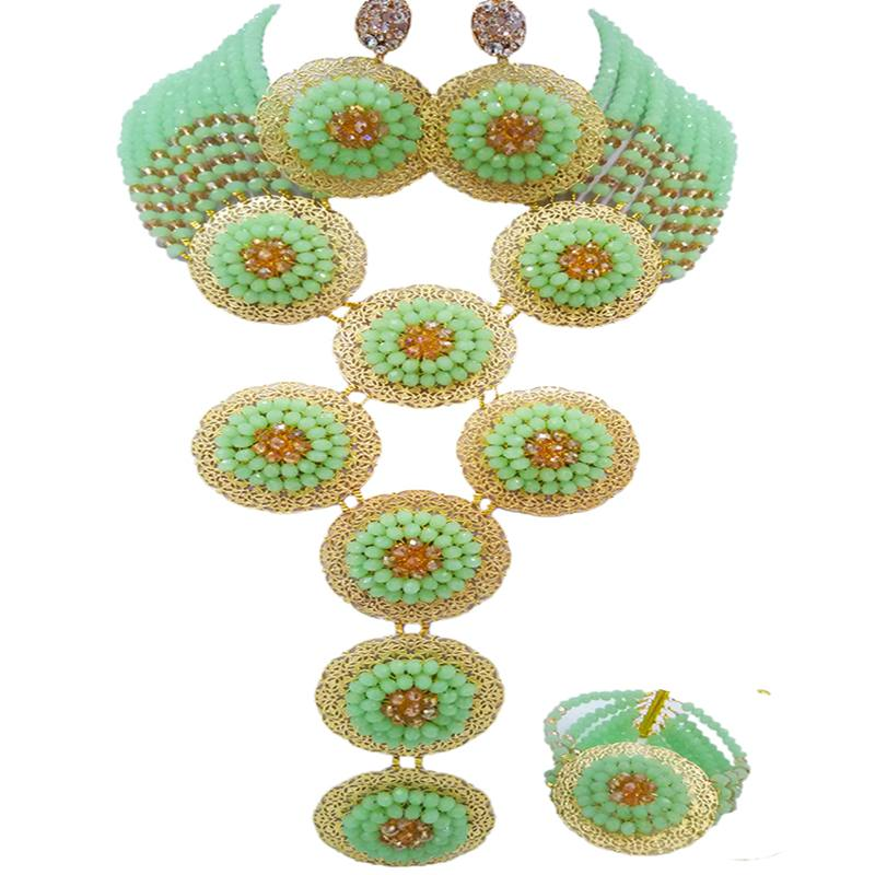 Free Shipping Mint Green Champagne Gold African Style Women Party Crystal Jewelry Sets 10C-9PH-13 mint green casual sleeveless hooded top