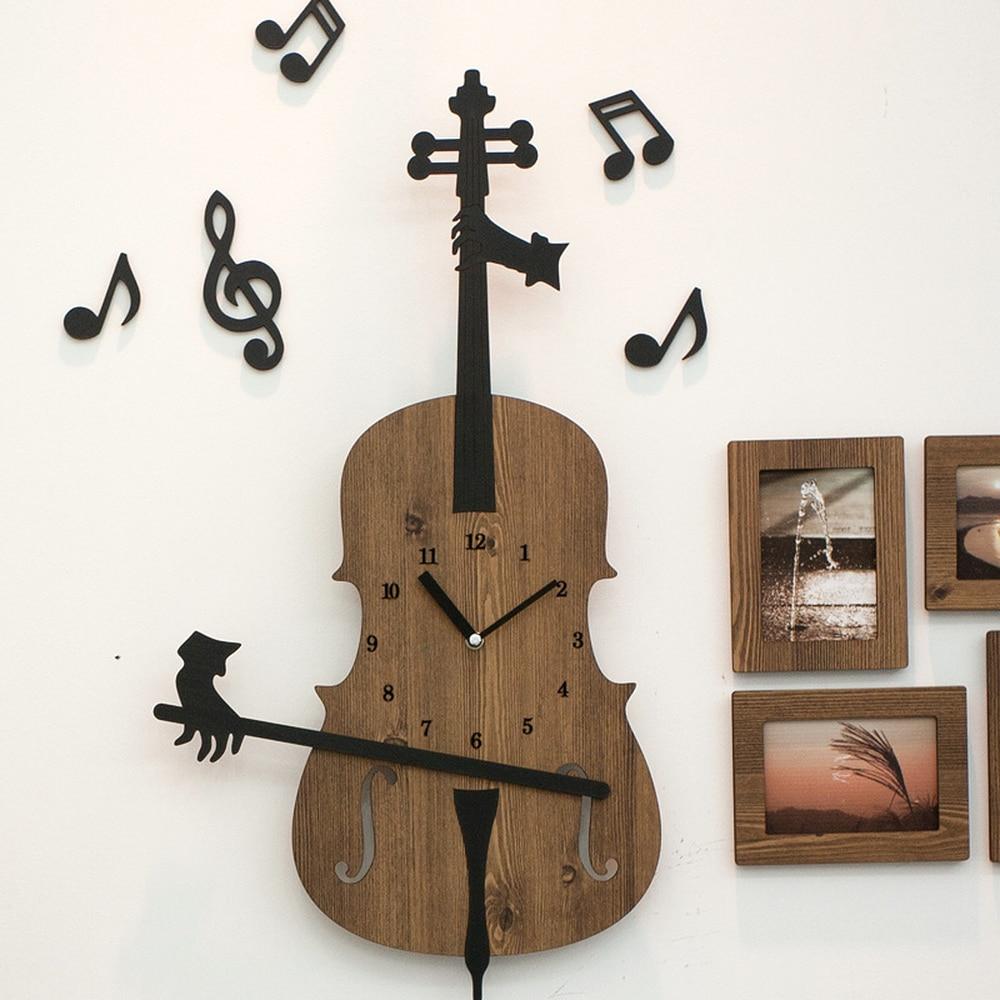1 pièces Art décoration horloge en bois horloge murale belle bande dessinée violon horloge murale LU727134