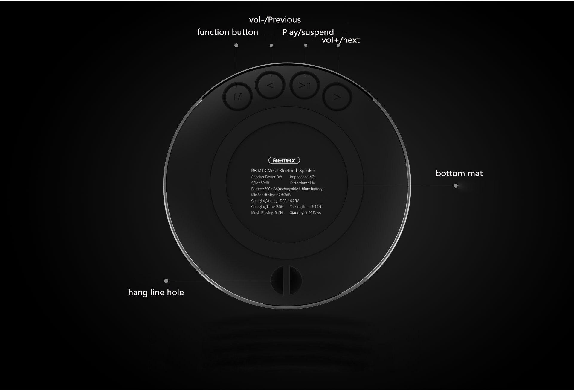 HTB1rRUvjQyWBuNjy0Fpq6yssXXa9 Remax Bluetooth Portable Speaker RB-M13 - Black