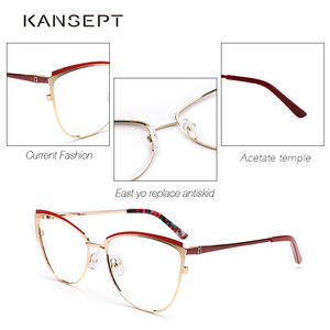 Image 4 - מתכת נשים מתכת משקפיים מסגרת עין חתול משקפיים נשים קוצר ראייה אופטי ברור משקפיים מסגרת מותג מעצב בציר