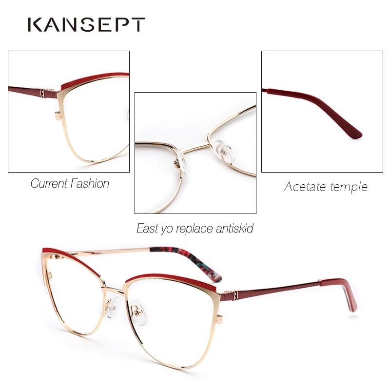 Image 4 - Metal Women Metal Glasses Frame Cat Eye Glasses Women Myopia Optical Clear Eyeglasses Frame Brand Designer Vintage-in Women's Eyewear Frames from Apparel Accessories
