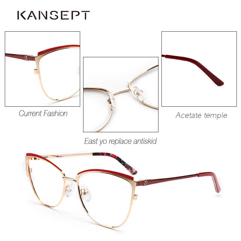 22c28a1d9874 ... Metal Women Metal Glasses Frame Cat Eye Glasses Women Myopia Optical  Clear Eyeglasses Frame Brand Designer ...
