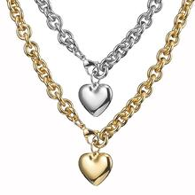 Granny Chic Simple Personality Stainless Steel 8mm Oval Link Chain Women Necklace With Silver Gold Heart Pendant