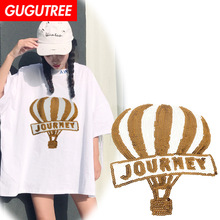GUGUTREE embroidery Sequins big balloon patches journey badges applique for clothing XC-199