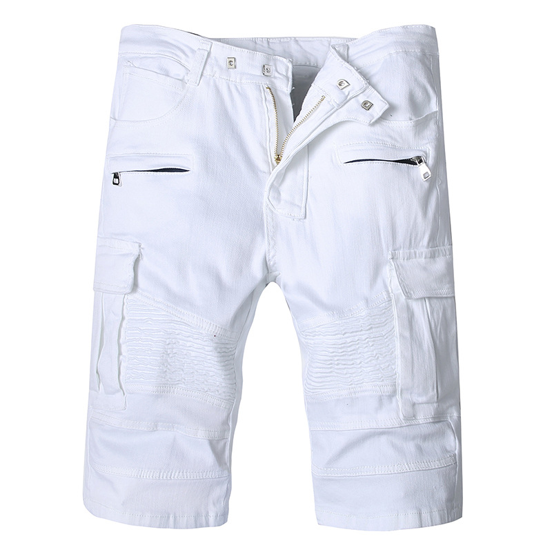 ABOORUN Men's White Biker Denim Shorts Big Pockets Pleated Jeans Shorts Summer Brand Shorts For Male X1074
