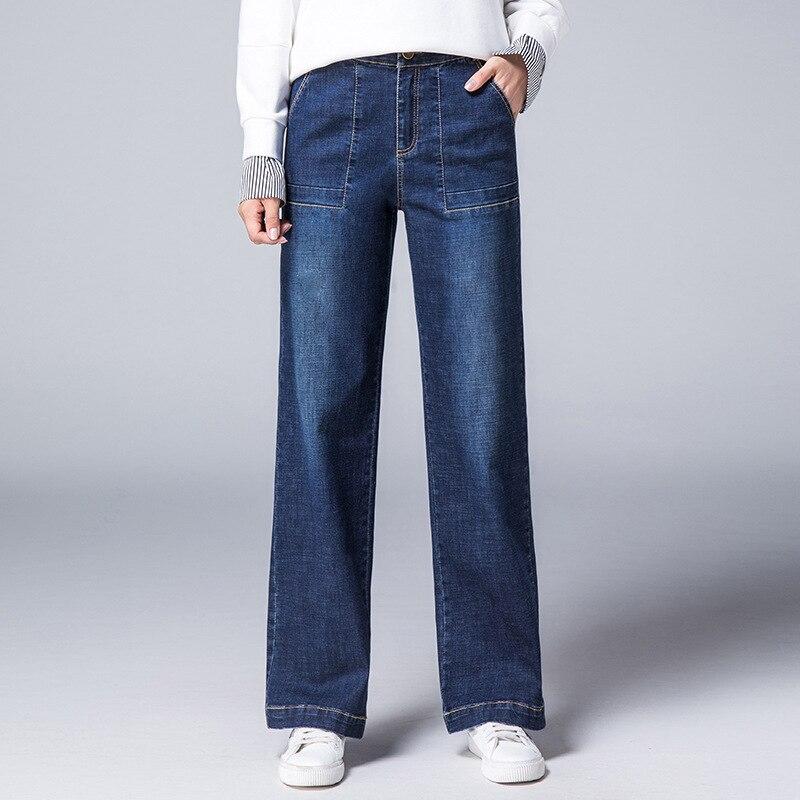 De Pantalon Produits Nouveaux Mode Large Grande Femmes Hiver Taille Automne Poche Couture 2018 Bleu Jeans jambe Lâche Hauteur RAXqwC