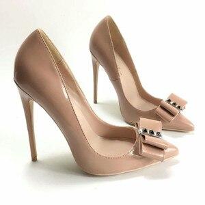 Image 4 - Женские туфли лодочки Keshangjia, брендовые туфли на высоком каблуке с острым носком и бантом
