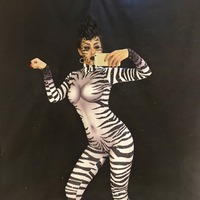 Для женщин Сексуальная Зебра полосатый принт со сверкающими стразами комбинезон для ночного клуба вечерние праздновать певица сцене носит