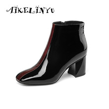 AIKELINYU Women Ankle Boots Plus Size 34-43 Square Heel Female Head Pumps Fashion Mixed Color Woman Winter Plush
