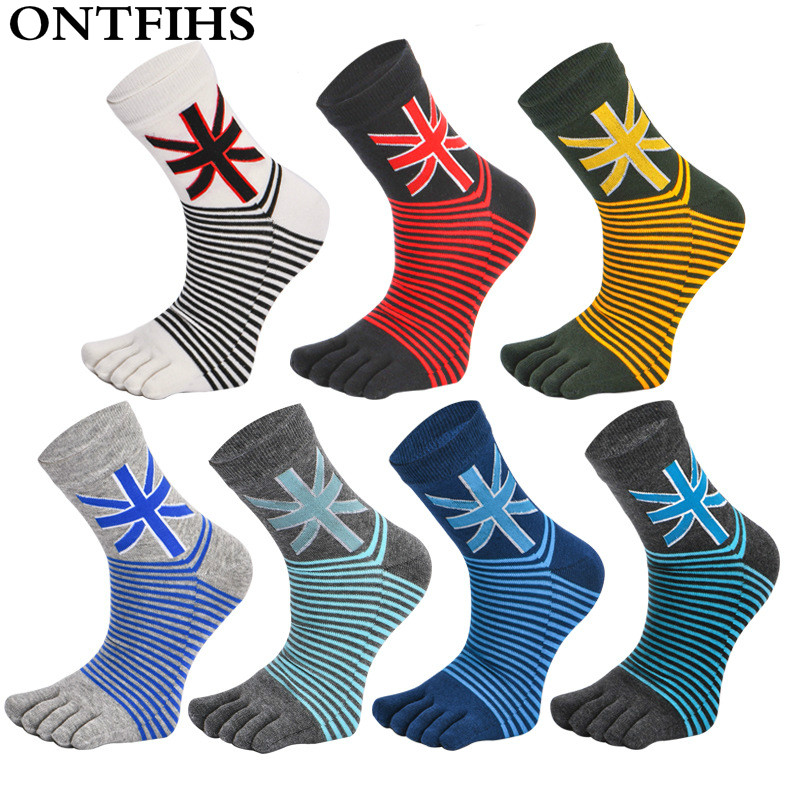 ONTFIHS Men Toe Socks Brand Mens Five Fingers Socks Striped Combed Cotton Men Boy Short Socks Meias Colorful T-39