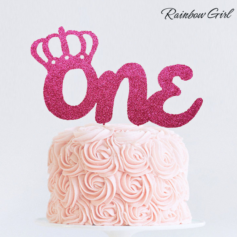 Many Colors Glitter Birthday Crown One Cake Topper Baby Shower/Boy or Girl First Birthday Age Topper Party Decorations Supplies