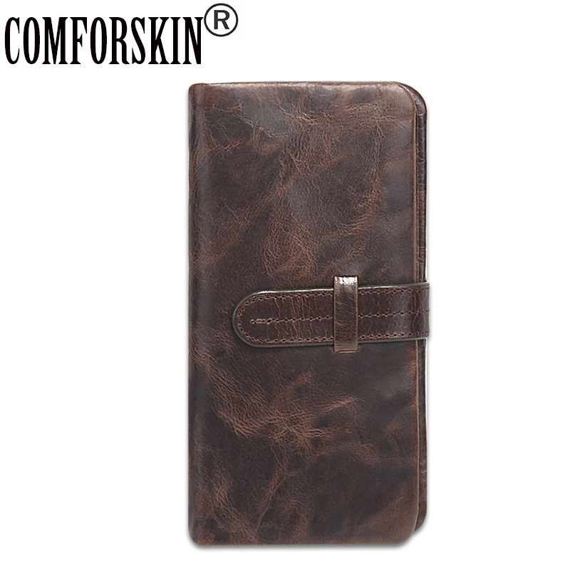 COMFORSKIN Luxurious Cowhide Oil Wax Leather Man Wallets Brand Design Long Leisure Multi-Card Bit Men Clutch Purse High Quality
