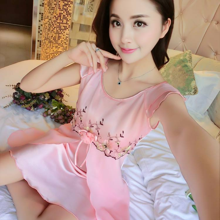 Ladies Sexy Silk Satin Night Dress Sleeveless Nighties Round-neck Nightgown M-XXL Nightdress Lace Sleepwear Nightwear For Women