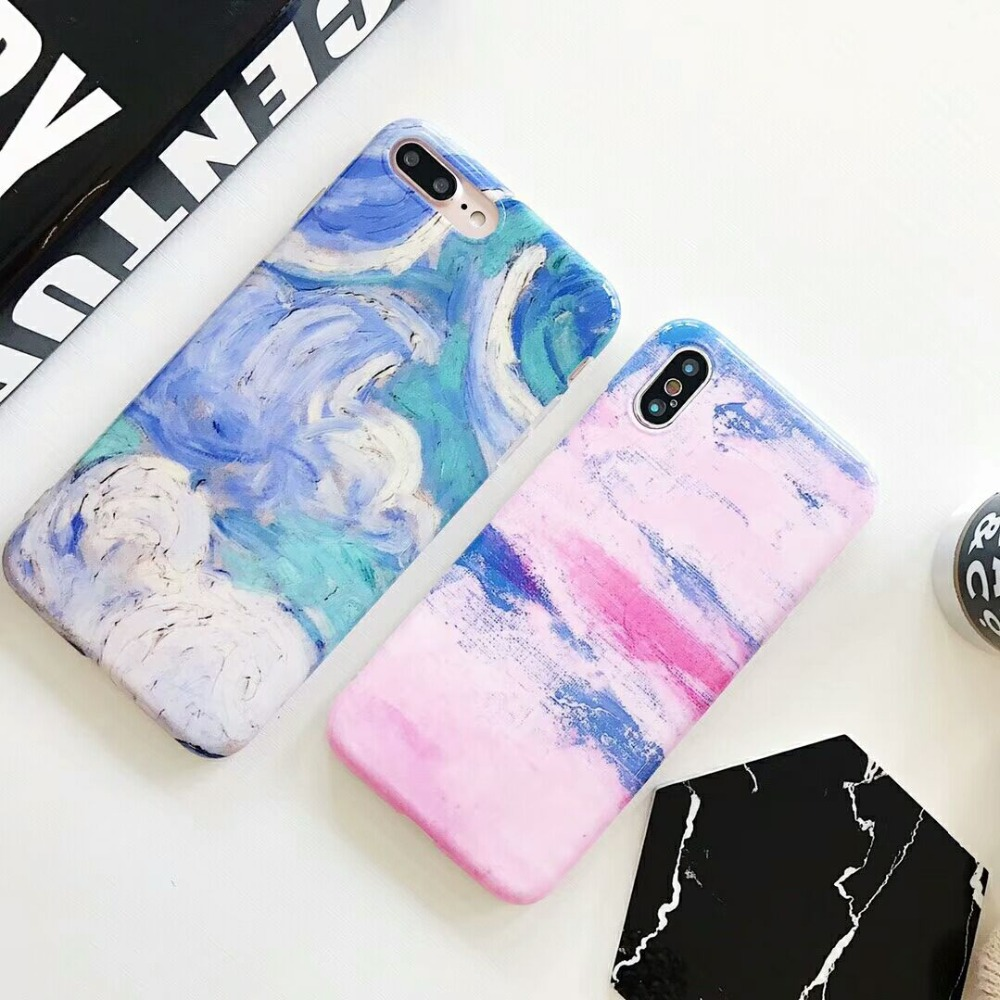 BROTOLA Oil Painting Graffiti Phone Case For iphone 6 6s 7 8 Plus Case Soft TPU Glossy Retro Cover For iphone X Case Capa