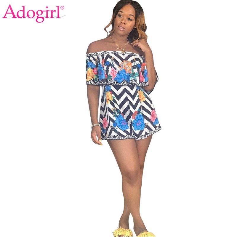 Women/'s Striped Wide Leg Jumpsuit Floral Loose Party Playsuit Mini Romper Dress