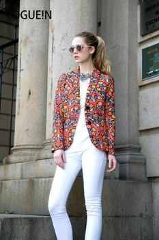 VOGUE!N New Womens Floral Paisley Print Long Two Button Suit Blazer Short Coat Jacket jeans con blazer mujer