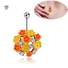 Top Selling Luxurious Colorful Flowers Body Piercing Brand silver Plated Woman Belly Button Rings Violetta orange Percings Navel