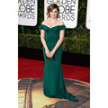 2017 Rachel Bloom Celebrity Dresses 73rd Golden Globe Awards Off the Shoulder Dark Green Formal Dress Red Carpet Dresses