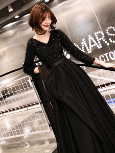 Image 5 - weiyin 2020 Long Formal Evening Dresses Black Womens Elegant V neck Long Sleeve Sequined Prom Evening Party Gowns WY1273