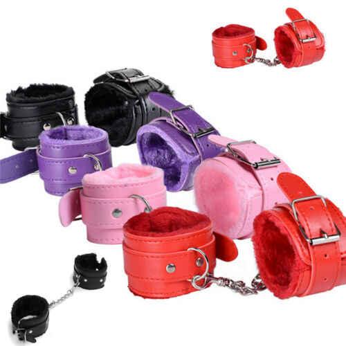 Esposas de muñeca de cuero PU, grilletes de tobillo, cinturón de sujeción ajustable para sexo, trajes de Cosplay, Negro, Rosa, Morado, Rojo