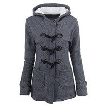 Autumn Winter Coat Women Jackets Capped Cotton Blended Horn Button Mid-long Parkas Casual Cotton Coats Clothes Plus Size 5XL plus size hooded horn button coat