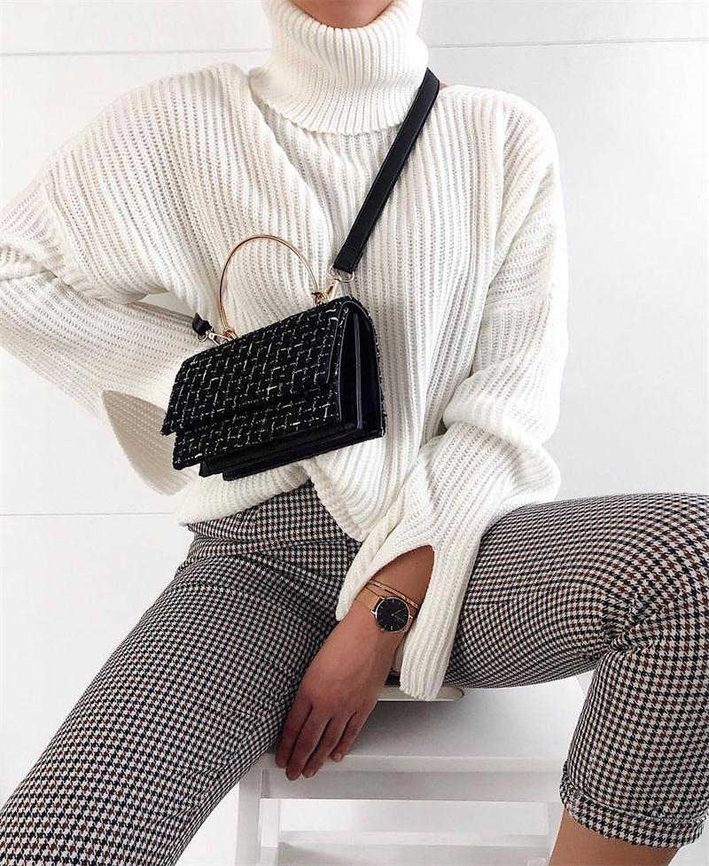 InstaHot High Waist Pants Autumn Elegant Trousers Women Grey Plaid Button Front Ladies Pencil Skinny Pants Casual Streetwear