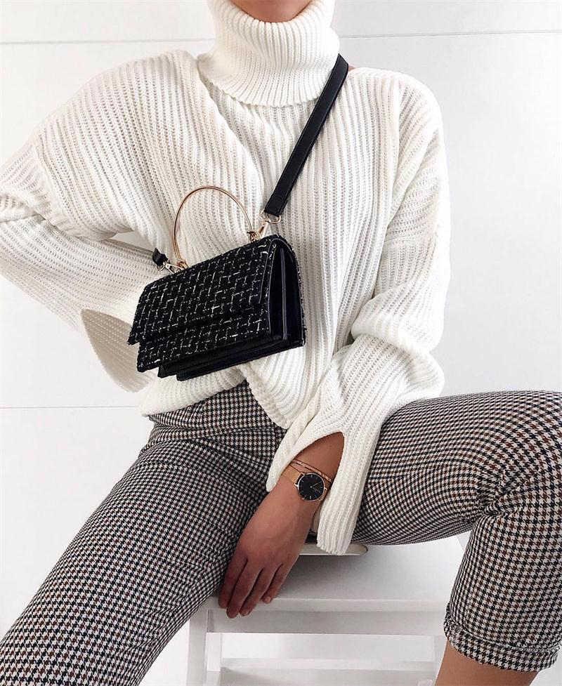 InstaHot yüksek bel pantolon sonbahar zarif pantolon kadın gri ekose düğme ön bayanlar kalem dar pantolon Casual Streetwear