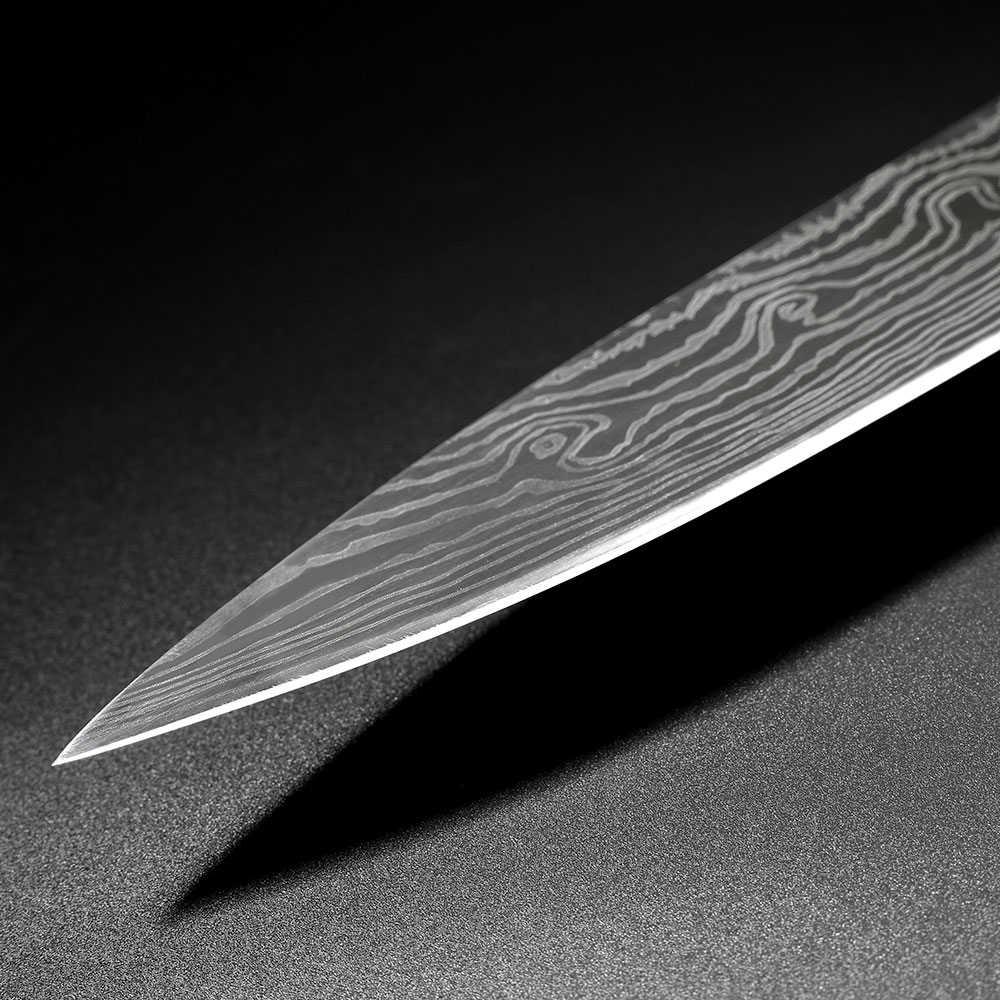 SUNNECKO 8 zoll Kochmesser Edelstahl Spiegel Laser Muster Klinge Küche Messer Pakka Holz Griff Kochen Cutter Werkzeug