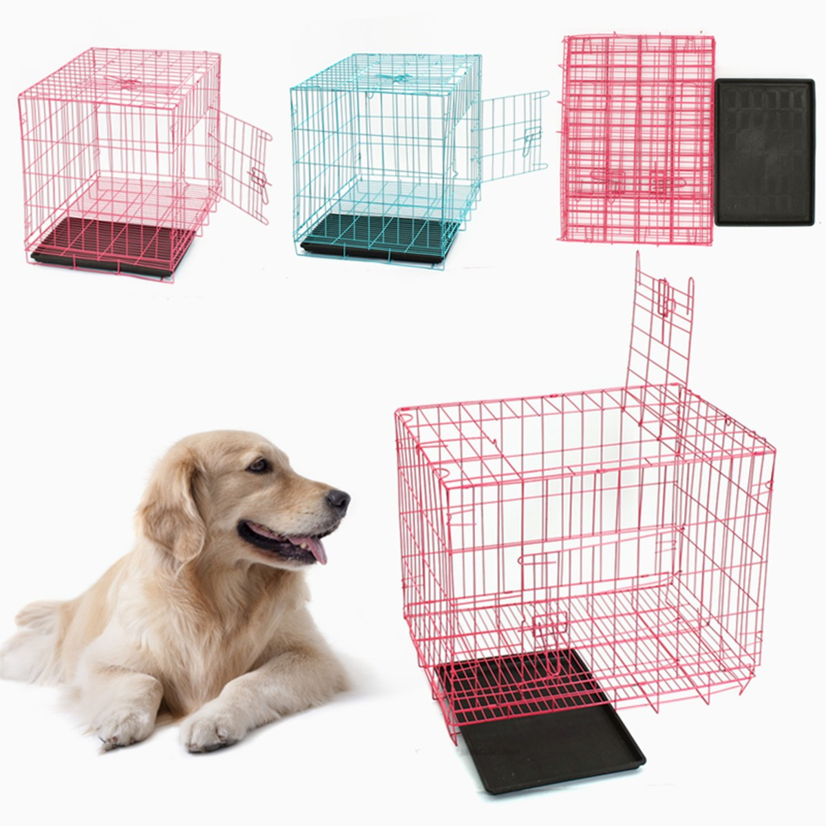 28 5 Pet Crate Dog House Nest Baskets Folding Cat Cage Steel Puppy Kennel Playpen With Tray For