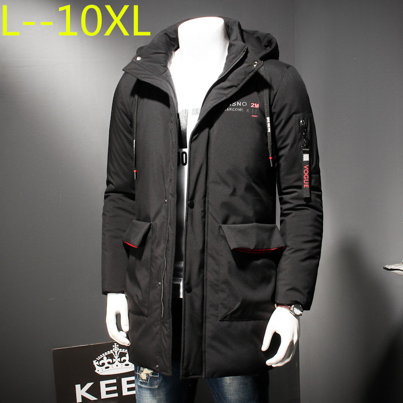 PLUS SIZE 10XL 8XL 6XL new long thick winter coat men brand clothing black solid warm hooded jacket male quality   parkas   jacket