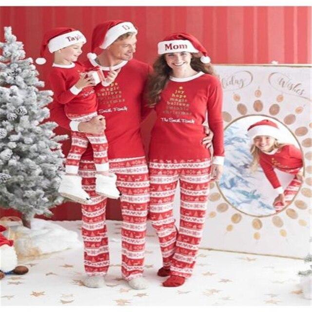 Nueva Casual Ropa De Navidad Para Adultos de La Familia Pijama Conjunto ropa de Dormir Ropa de Dormir Pijamas Traje Rojo