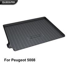 QUEES Custom Fit Cargo Liner Boot Tablett Stamm Boden Matte für Peugeot 5008 2nd Generation 2017 2018 2019