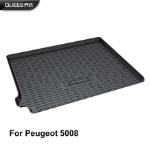 QUEES Custom Fit Cargo Liner Boot Tray Trunk Floor Mat for Peugeot 5008 2nd Generation 2017 2018 2019