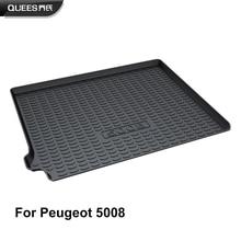 QUEES Custom Fit מטענים ריפוד אתחול מגש תא מטען רצפת Peugeot 5008 2nd דור 2017 2018 2019