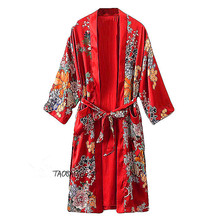 Print kimono-style lengthy outerwear japanese fashion to endulge bathrobe sleepwear cardigan prime feminine